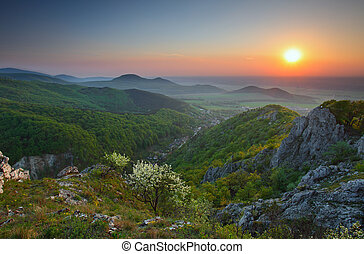 landschaftsbild, mit, felsige berge