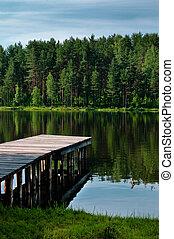 landschaftsbild, mit, pier, senkrecht, ansicht