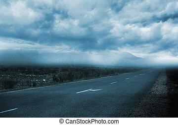 landschaftsbild, mit, trüber himmel