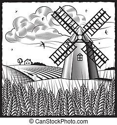 landschaftsbild, mit, windmühle