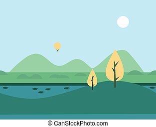 landschaftsbild, natur, seamless, abbildung, vektor, fluß, karikatur