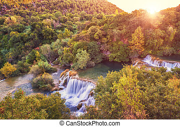 landschaftsbild, natur, wasserfall, sonnenaufgang, buk, erstaunlich, krka, kroatien, skradinski, fluß, ansicht