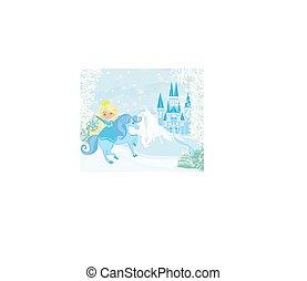 landschaftsbild, pferd, hofburg, reiten, schöne , prinzessin, winter