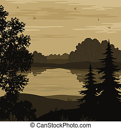 landschaftsbild, silhouette, fluß, bäume