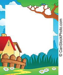 landschaftsbild, thema, rahmen, 1