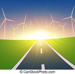 landschaftsbild, turbinen, wind