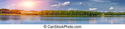landschaftsbild, von, a, schöne , see, an, dämmerung, panoramisch