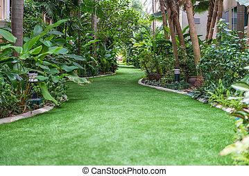 landschaftsbild, von, bahn, in, der, schöne , kleingarten