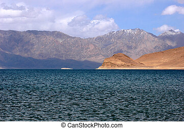 landschaftsbild, von, berge, blau, see