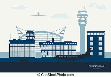 landschaftsbild, von, flughafen., transport, terminal, silhouette., motorflugzeug, auf, flugplatz, hintergrund., luftfahrt, szene
