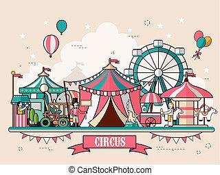 landschap, faciliteiten, circus