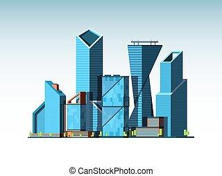 landschap., gebouwen, kantoor, zakelijk, stedelijke , glas, vector, achtergrond, cityscape, toren, collectief
