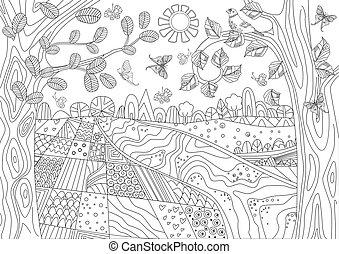 landschap, kleuren, natuur, boek, jouw, vrolijke