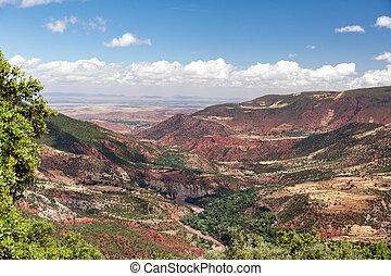 landschap., marocco, marrakech, ouarzazate.africa., hoge atlas, vallei, straat