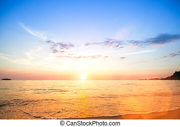 landschap., oceaan, scène, ondergaande zon , scape, strand
