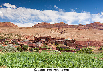 landschap., ouarzazate.spingtime, marocco, vallei, ounilla, zonnig, bomen, hoog, afrika., atlas, day., argan, straat