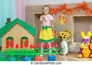 landschap, oud, stalletjes, woning, matinee, zes, kleuterschool, jaar, meisje, land
