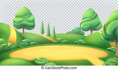 landschap., panorama., natuur, park, vrijstaand, vector, ...