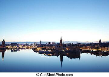 landschap, panorama, stockholm, avond, zweden