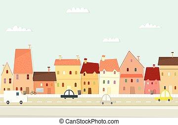 landschap., stad, beeld, spotprent, plat