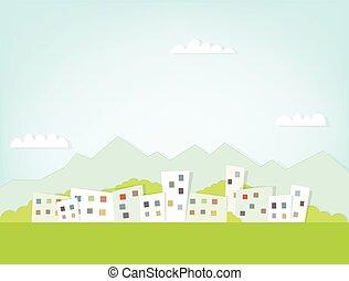 landschap, stad, berg, tegen, achtergrond, aanzicht