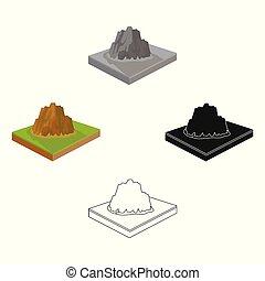 landschap., stijl, bergen, symbool, web., isometric,...