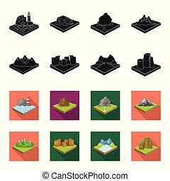 landschap., stijl, set, bergen, black , symbool, iconen,...