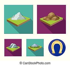 landschap., stijl, set, bergen, symbool, iconen, web.,...