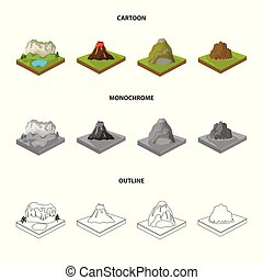 landschap., stijl, set, spotprent, bergen, symbool, iconen,...