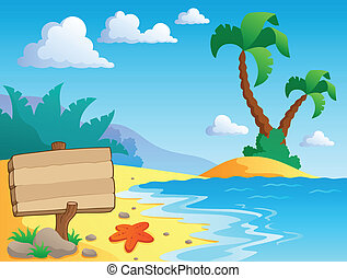 landschap, thema, 2, strand