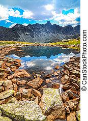 landschap, verticaal, aanzicht, van, een, berg meer, en, rotsen, in, hoog, tatras, slowakije