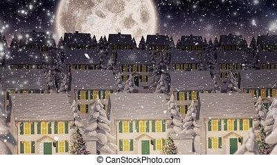 landschap, video, sneeuw, winter, samenstelling, op, nacht