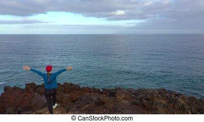 landschap, vrouw, stalletjes, gebied, op, vliegen, eilanden,...