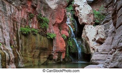 landschap, waterval, rotsachtige kloof