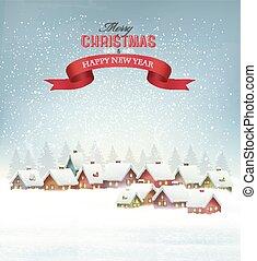 landschap., winter, besneeuwd, achtergrond, dorp, kerstmis, vector.