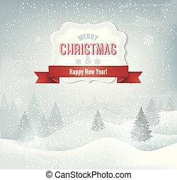 landschap., winter, vector, retro, achtergrond, vakantie, kerstmis