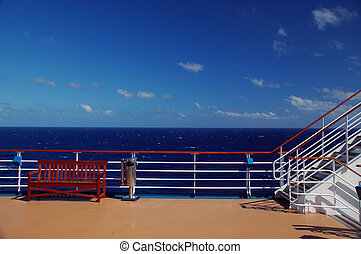 landschape bezichtiging, van, cruiseschip, dek, en, oceaan