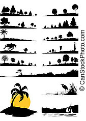 landschappen, en, bomen, van, black , colour., een, vector, illustratie