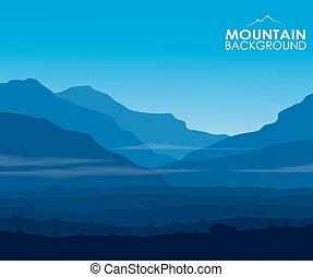 landskab, hos, uhyre, blå bjerg