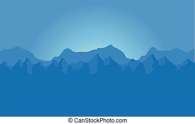 landskab, i, blå bjerg