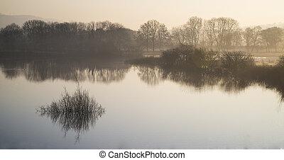 landskab, i, sø, ind, mist, hos, sol, glød, hos, solopgang