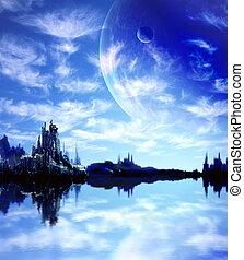 landskab, ind, fantasien, planet