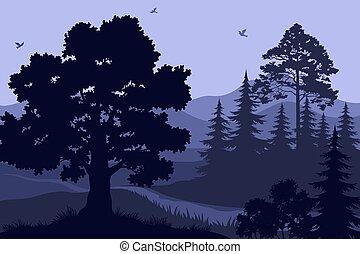 landskab, træer, bjerge, og, fugle
