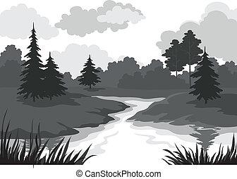 landskab, træer, og, flod, silhuet