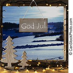 landskab, vinter, betyder, gud, jul, merry, vindue, jul