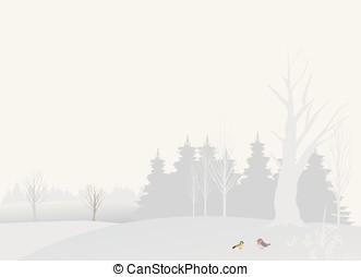 landskab, -, vinter, illustration