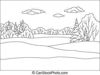 landskab, vinter, skov, konturer
