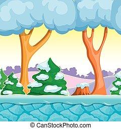 Landskab, Vinter, Træer, Himmel,  seamless, Is, Sne, Vektor, lag,  cartoon, Bjerge