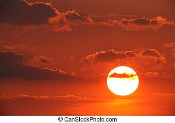 landskabelig, solnedgang