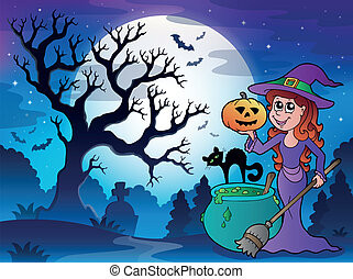 landskap, 1, halloween, tecken